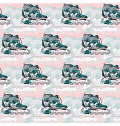 seamless pattern with roller skates on a pink vector image