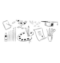 Set art supplies vector