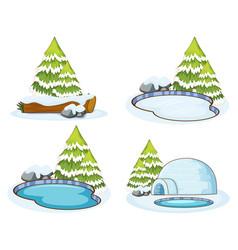 Set four scenes with pine tree vector
