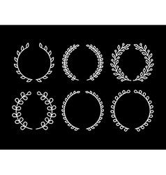 set laurel wreaths in outline style vector image