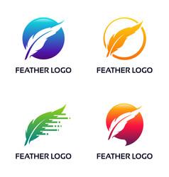 Set modern feather logo lawyer law firm logo vector