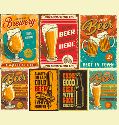 Set of beer poster vector