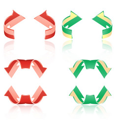 set of frosted arrows red green vector image
