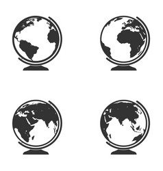 set of globe icon earth symbol collection vector image