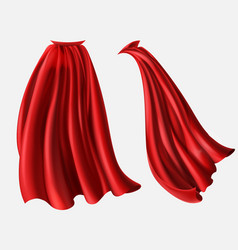 Set of red cloaks flowing silk fabrics vector