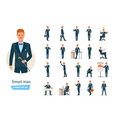 set of smart graceful man cartoon character vector image