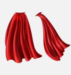 Set red cloaks flowing silk fabrics vector
