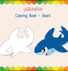 Shark coloring book educational game vector