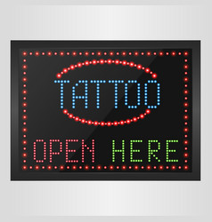 shining retro light banner tattoo open here vector image