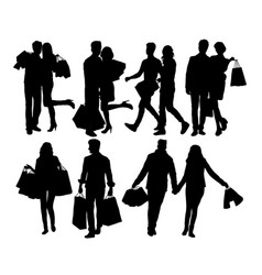 shopping couples silhouettes vector image