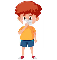 Sick boy wearing mask on white background vector