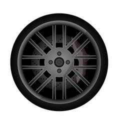 Side view racing car wheel icon vector