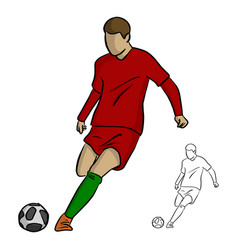 soccer player in action shooting a goal vector image