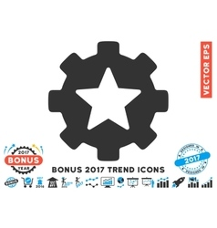 Star Favorites Options Gear Flat Icon With 2017 vector