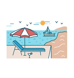 summer scenery with sunlounger cocktail and vector image