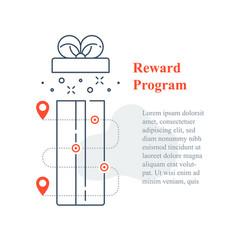 Surprise gift box open reward program incentive vector