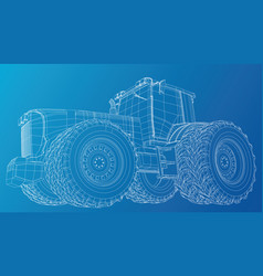 Tractor side view wire-frame tracing vector