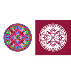 traditional indian mandala coloring outline set vector image