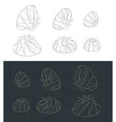 Turbine impellers drawings set vector