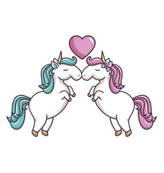 two unicorns in love vector image