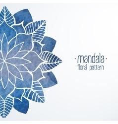 Watercolor flower blue pattern vector