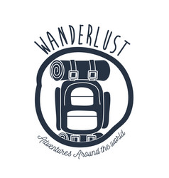 White background wanderlust logo camping bag vector