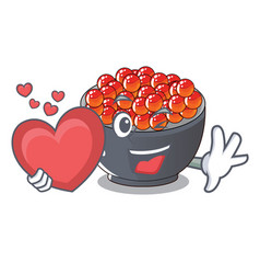 With heart salmon roe character ready to eat vector