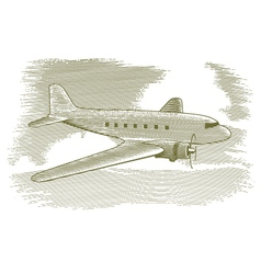 Woodcut Vintage Airplane vector image