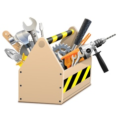 Wooden box with tools vector