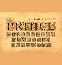 Word prince set vintage alphabet letters vector