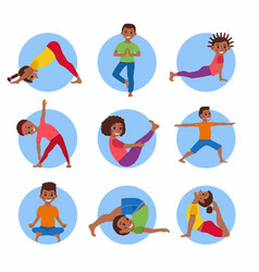 Yoga kids poses set vector