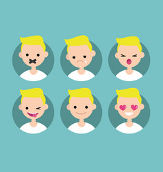 Young blond boy profile pics set of flat vector