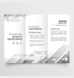 elegant trifold brochure design in gray shade vector image