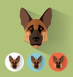german shepherd portrait with flat design vector image vector image