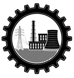 the logo is industrial thermal and nuclear power vector image vector image