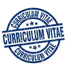 curriculum vitae blue round grunge stamp vector image vector image