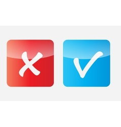 Red and Blue Check Mark Icons vector image vector image