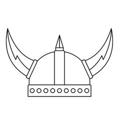 Viking helmet icon outline style vector image