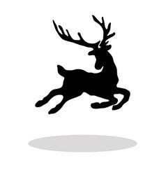 black silhouette christmas reindeer white vector image vector image