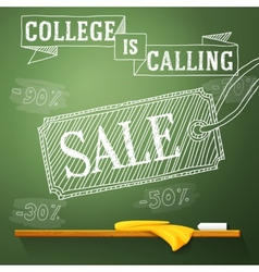 College is calling sale on the chalkboard with vector image vector image