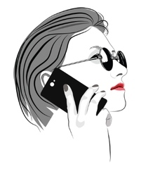Girl with round sun glasses talking on cell phone vector image