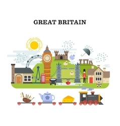 Great britain and london traveling concept vector