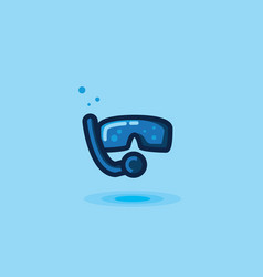 icon mask and snorkel tube vector image vector image