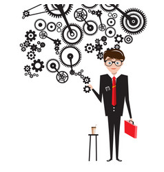 man in suit with cogs on white background vector image