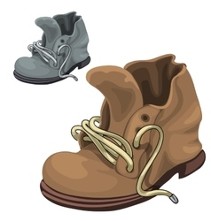 Old well-worn winter boots brown and gray vector image