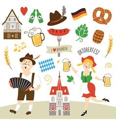 set of Germany and Bavaria symbols vector image