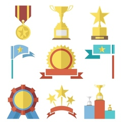 Flat Design Style Awards and Trophy Icons Set vector image vector image