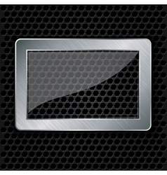 Glass in metallic frame on abstract metal speaker vector image vector image