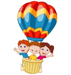 Happy kids cartoon riding a hot air balloon vector image