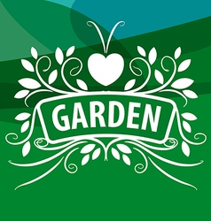 Logo from plants ornament with heart vector
